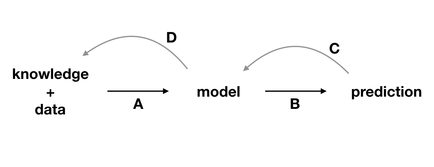 Explainability techniques allow strengthening the feedback extracted from a model. A, data and domain knowledge allow building the model. B, predictions are obtained from the model. C, by analyzing the predictions, we learn more about the model. D, better understanding of the model allows better understanding of the data and, sometimes, broadens domain knowledge.